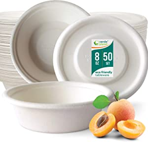 Verde Planet - 8 oz Round To Go Bagasse Containers - Biodegradable, Tree Free Sugarcane Fiber, Ecofriendly, Disposable, Sturdy, White Premium Quality Take Out Food Containers - 50 Bowls + 50 Lids