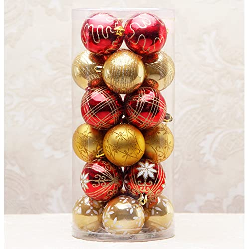 yzakka 24pcs christmas tree ornaments 60mm236 christmas ball box wedding party yard decorations - Red And Gold Christmas Tree Decorations