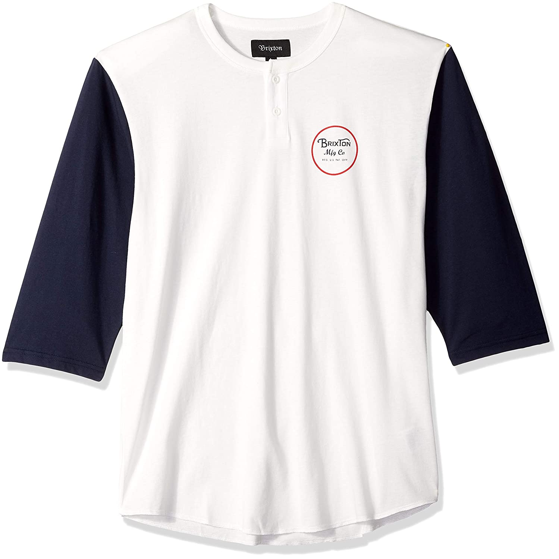 BRIXTON Wheeler 3/4 SLV Henley Camiseta de Manga Larga Off White/Navy: Amazon.es: Ropa y accesorios