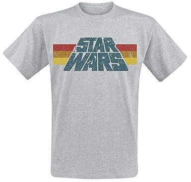 6c5189ead69 Star Wars Vintage 77 T-Shirt Mottled Grey  Amazon.co.uk  Clothing
