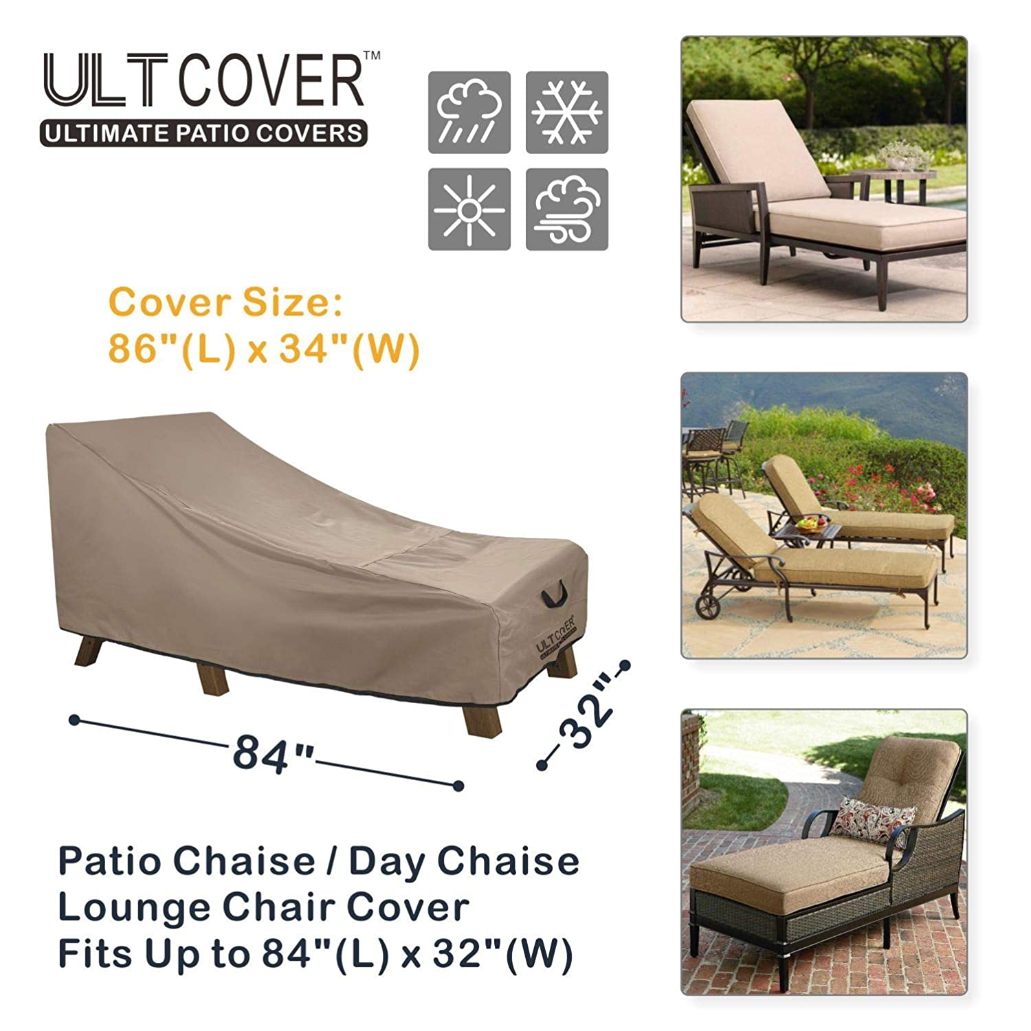 Magnificent Ultcover Waterproof Patio Lounge Chair Cover Heavy Duty Outdoor Chaise Lounge Covers 84L X 32W X 32H Inch Alphanode Cool Chair Designs And Ideas Alphanodeonline