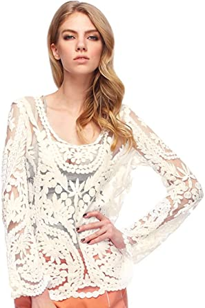 Fancyqube Womens Lace Beige Retro Floral Knit Top Long Sleeve
