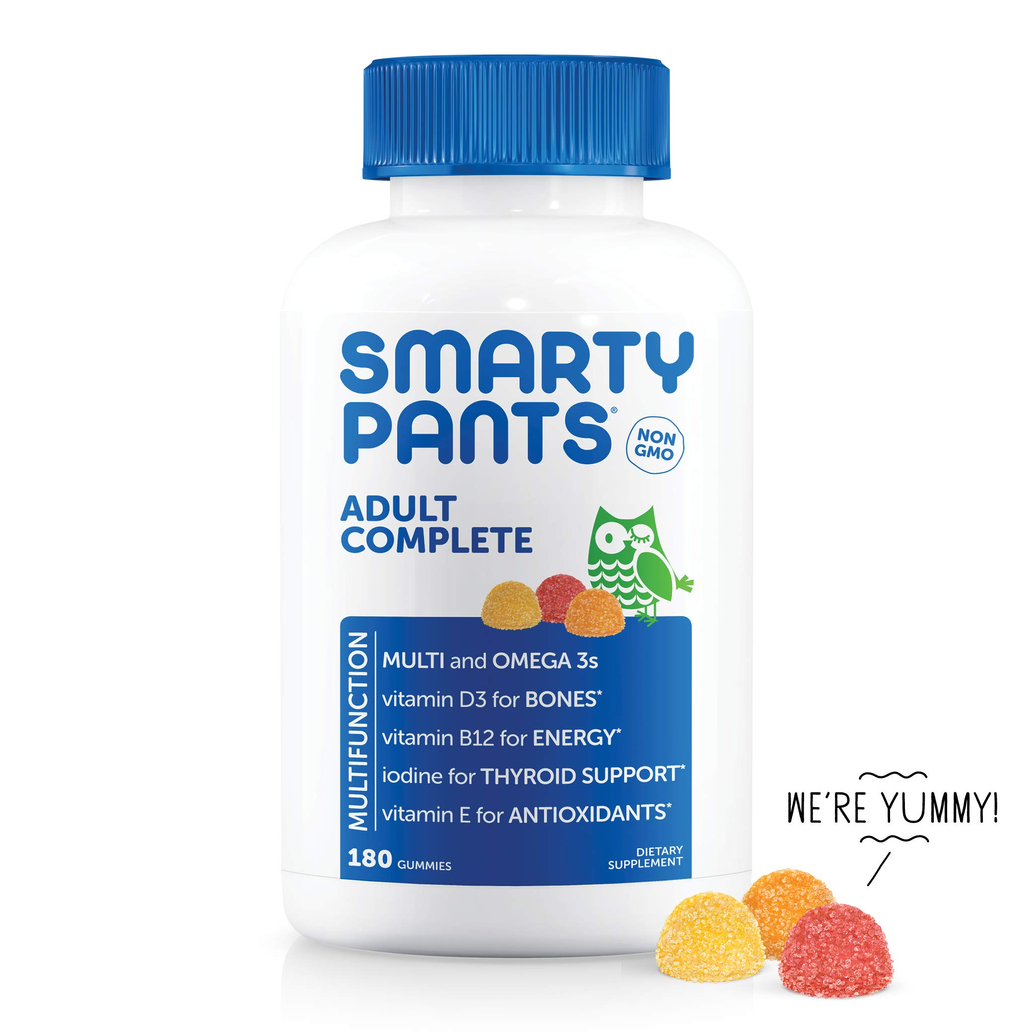 SmartyPants Adult Complete Daily Gummy Vitamins: Gluten Free, Multivitamin & Omega 3 DHA/EPA Fish Oil, Methyl B12, Vitamin D3, Non-GMO, 180 count (30 Day Supply)