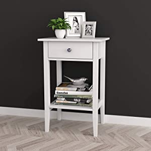 """White Finish Nightstand Side End Table with Drawer and Bottom Shelf 28"""" H by RAAMZO"""