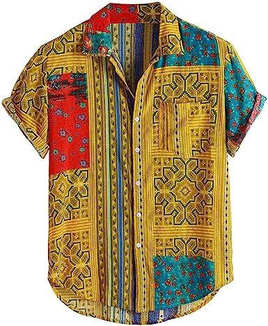 Skang Camisetas Manga Corta Hombre Verano Original Étnico Impresión Tradicional Africana Solapa Botones Polos Shirts Blusa Vintage: Amazon.es: Ropa y accesorios