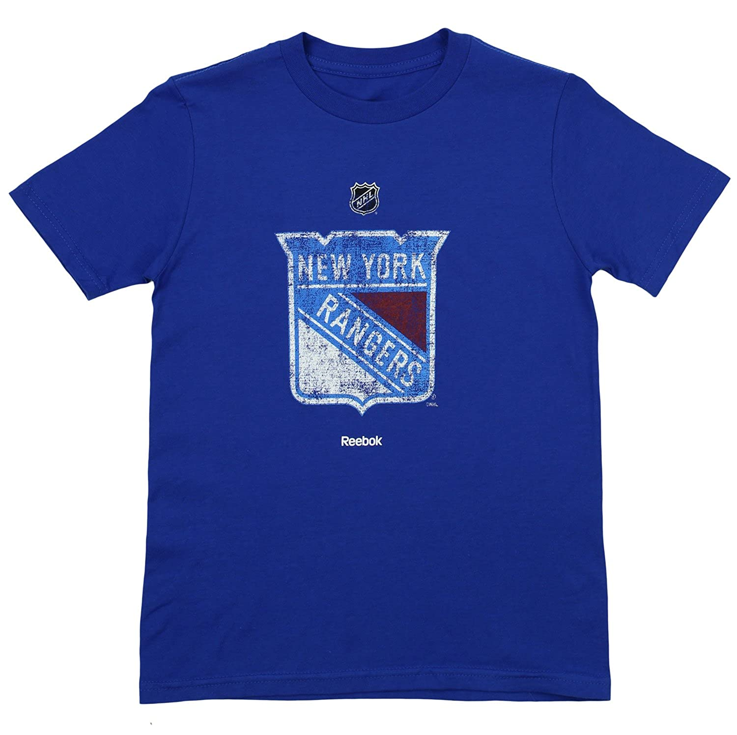 New York Rangers Youth Blue Primary Distressed Logo T Shirt