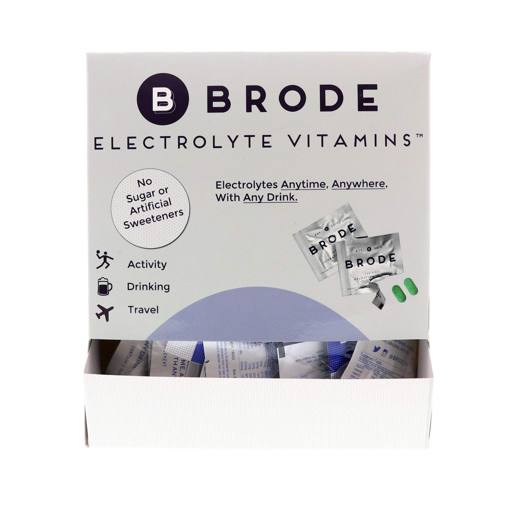Brode Electrolyte Vitamin - Portable Zero-Sugar Electrolyte Tablets - for Sports, Hangovers, Jet Lag, 5 Essential Electrolytes + 9 Vitamins 100-Pack by Brode (Image #1)