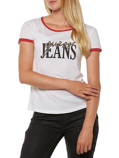 Guess camiseta retro manga corta (L - Blanco): Amazon.es: Ropa y accesorios