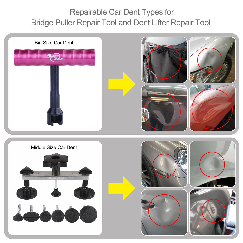 Super PDR 56Pcs Auto Car Paintless Dent Repair Tools kit - Dent Bridge Dent Puller Kit with Hot Melt Glue Gun Glue Sticks for Car Body Dent Repair by Super PDR (Image #4)