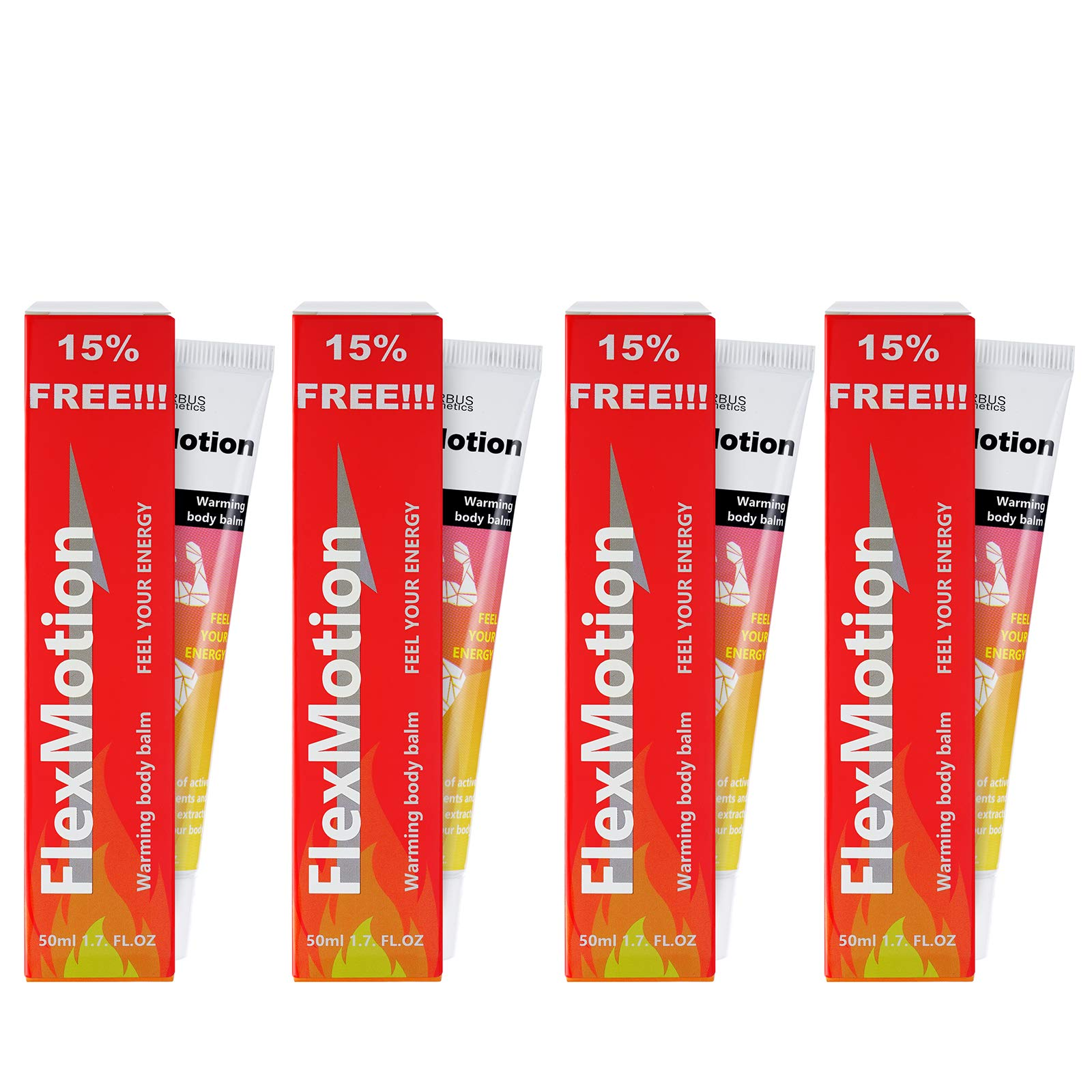 FlexMotion cream 4 tube Warming Body Balm 4x1.7 fl oz. (4x50 ml) Four tubes Muscle stretching, help with joint pain and atrosis Original hologram Product Name