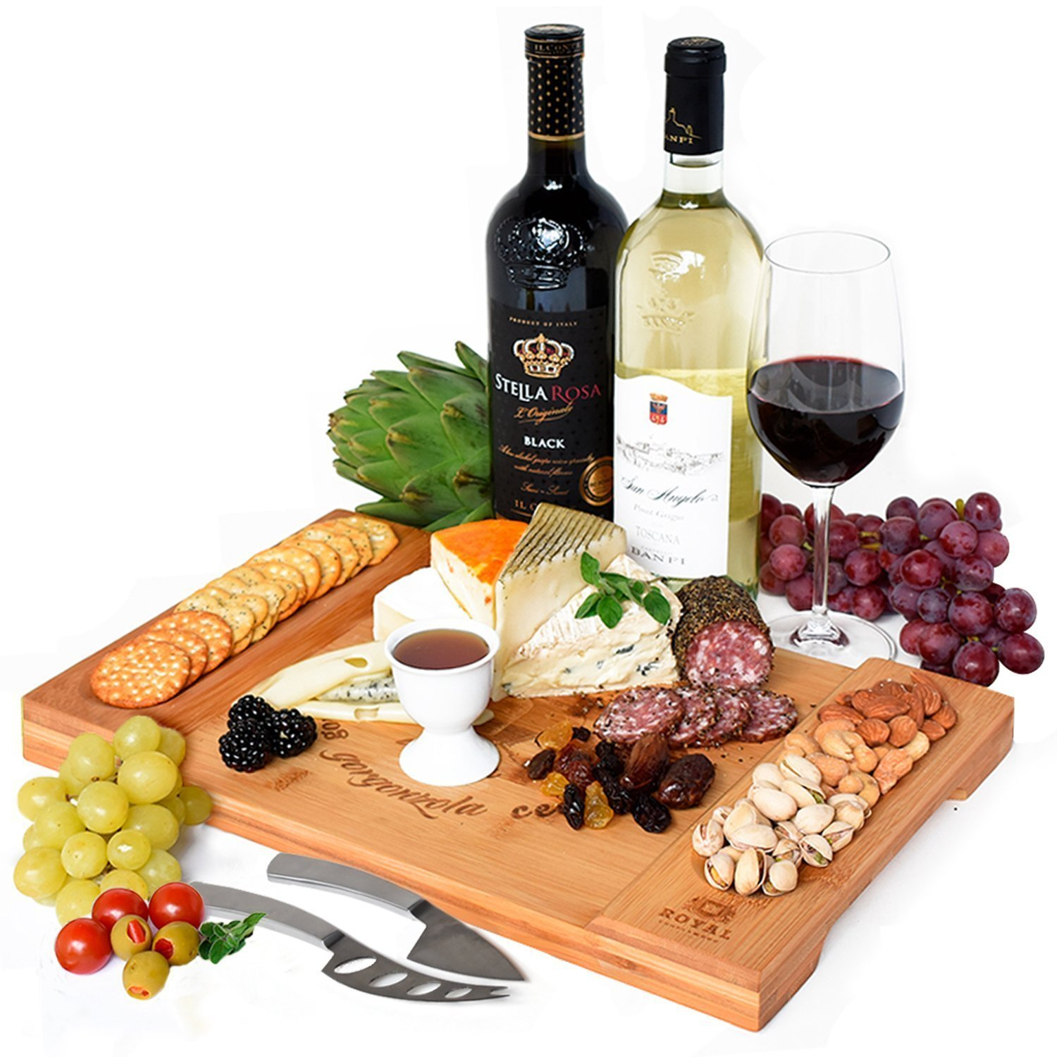 Unique Bamboo Cheese Board, Charcuterie Platter & Serving Tray for Wine, Crackers, Brie and Meat. Large & Thick Wooden Server - Fancy House Warming Gift & Perfect Choice for Gourmets (Bamboo) by Royal Craft Wood