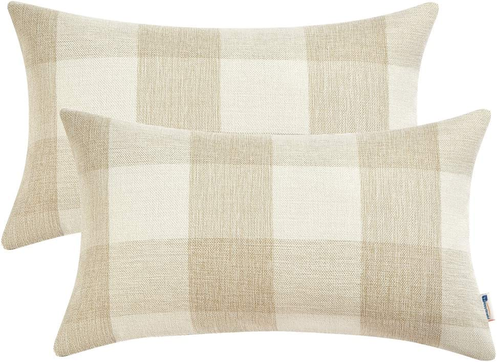 Anickal Set of 2 Beige and White Buffalo Check Plaid Lumbar Oblong Rectangle Throw Pillow Covers Farmhouse Decorative Pillow Covers 12x20 Inches for Farmhouse Home Décor