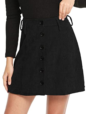 3bb1c9ab1ad2 WDIRA Women s Casual Button Closure A-Line Mini Short Corduroy Skirt Black S