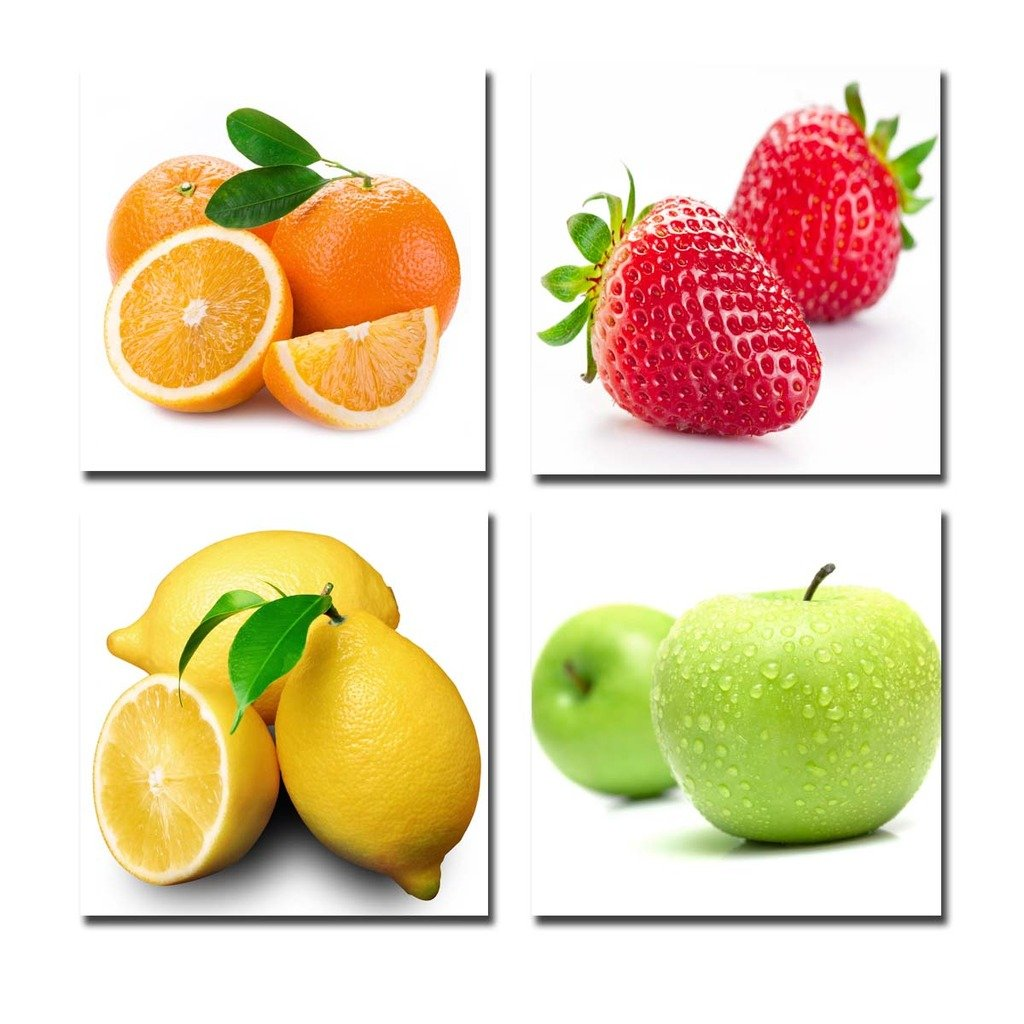 Purple Verbena Art 4pcs/Set Stretched and Framed Orange, Apple, Lemon, Strawberry Fruits Design Wall Artwork Paintings, 12x12 Inches Giclee Walls Canvas Art Work for Kitchen Home Decor, Ready to Hang