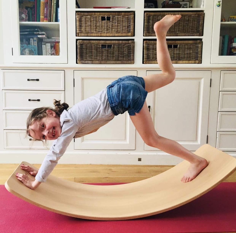 Balance Board de madera para ni/ños tira de la oscilaci/ón del balanc/ín curvado oscilaci/ón tableros de meza tabla de equilibrio de madera aprender mediante el juego y soportes desarrollo infantil