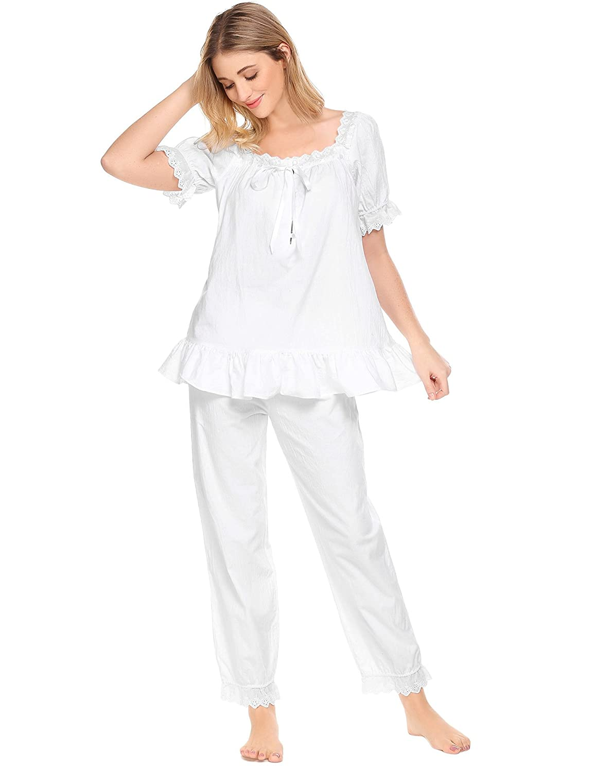 76b83d790e8 Avidlove Womens Cotton Pjs Victorian Vintage White Long Sleeve Pajama Set  Sleepwear at Amazon Women s Clothing store