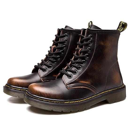 BAOLESEM Botas Militares de Cuero Unisex Adulto Botines con Cordones Plana Casual Hombre y Mujer: Amazon.es: Zapatos y complementos
