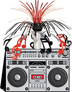 Beistle 1980's Hip Hop Decorations for Old School Party 80's Theme Retro Boom Box Centerpiece, 14