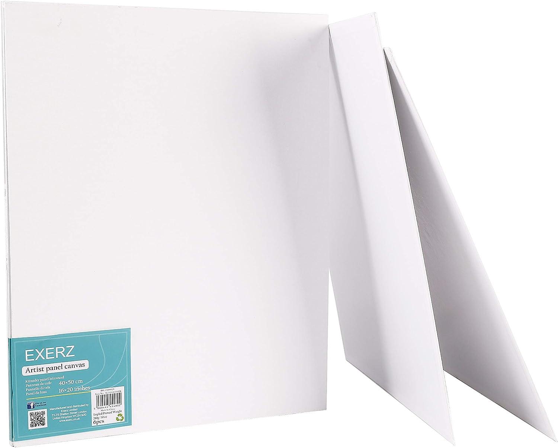 Exerz Artist Canvas Panels 6 Pack//Round Diameter 30cm 280GSM// Pre-Stretched 100/% Cotton//Blank Canvas Board//Triple Primed//Acid Free//Medium Grain 0.3cm Thick