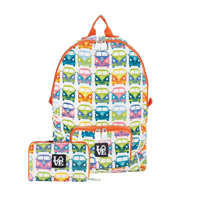 STASH IT Love Reusable Backpack School Work Recycled LOVE BUS Multi