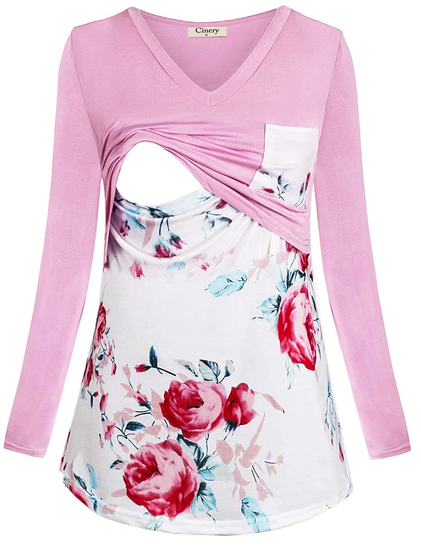Cinery Women's Long Sleeve Floral Print Nursing Shirts for Breastfeeding