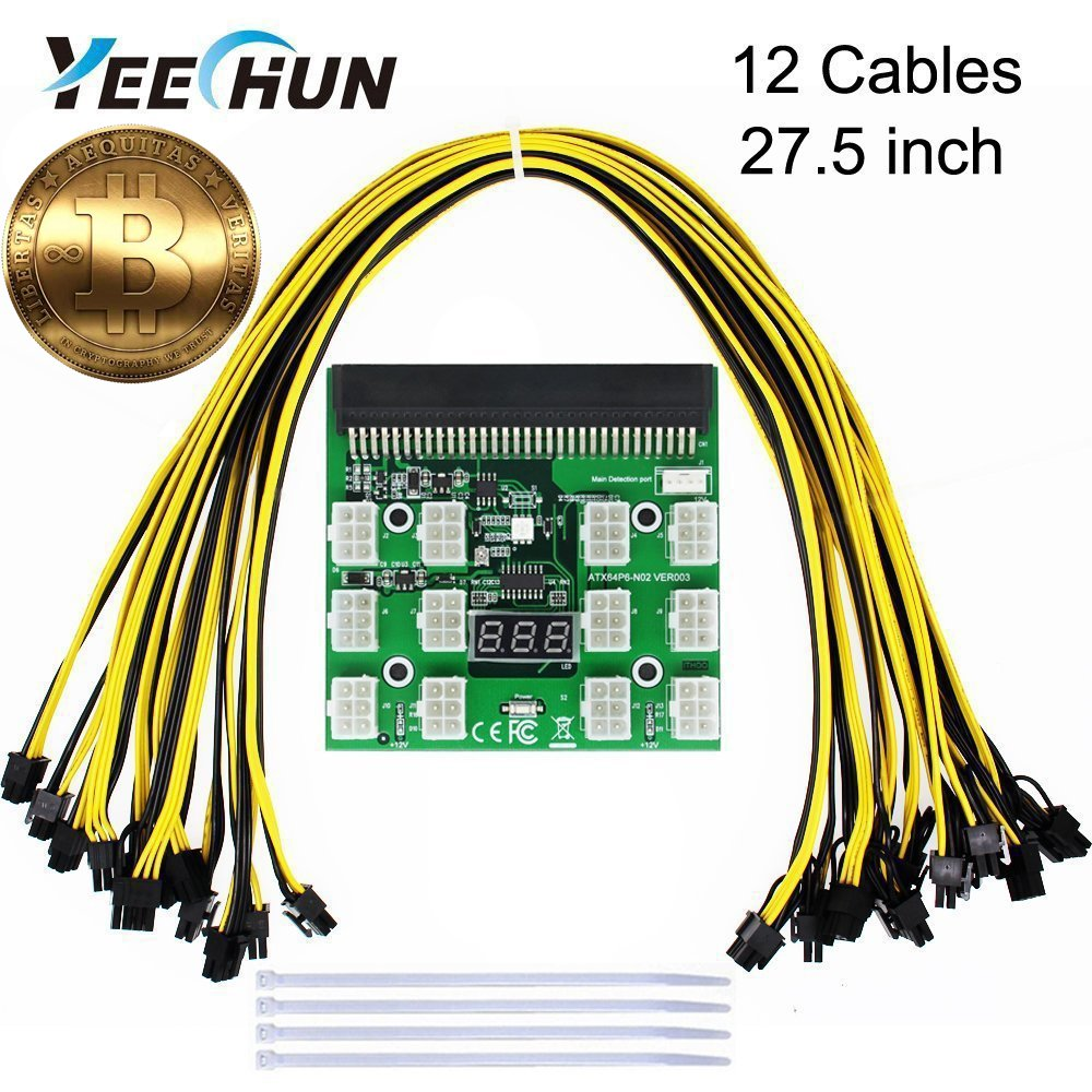 YEECHUN [Shipping from New York] 12-PACK 16AWG PCI-E 6Pin to 6+2Pin Cables (27.5 inch/70 CM) + Ethereum ETH ZEC Mining Power Supply 12V GPU Breakout Board