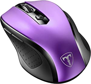 VicTsing MM057 2.4G Wireless Portable Mobile Mouse Optical Mice with USB Receiver, 5 Adjustable DPI Levels, 6 Buttons for Notebook, PC, Laptop, Computer, MacBook - Purple