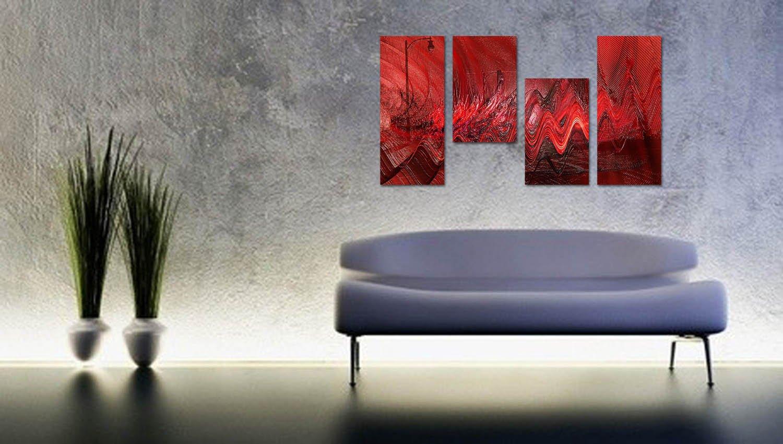 murando handgemalte Bilder 100x40 cm Gem/älde 1 TLG Acrylgem/älde Wandbild Leinwand Bild Moderne Kunst Kunstbilder Malerei Unikat Kunstwerk Dekoration rot Gold schwarz 0101-8