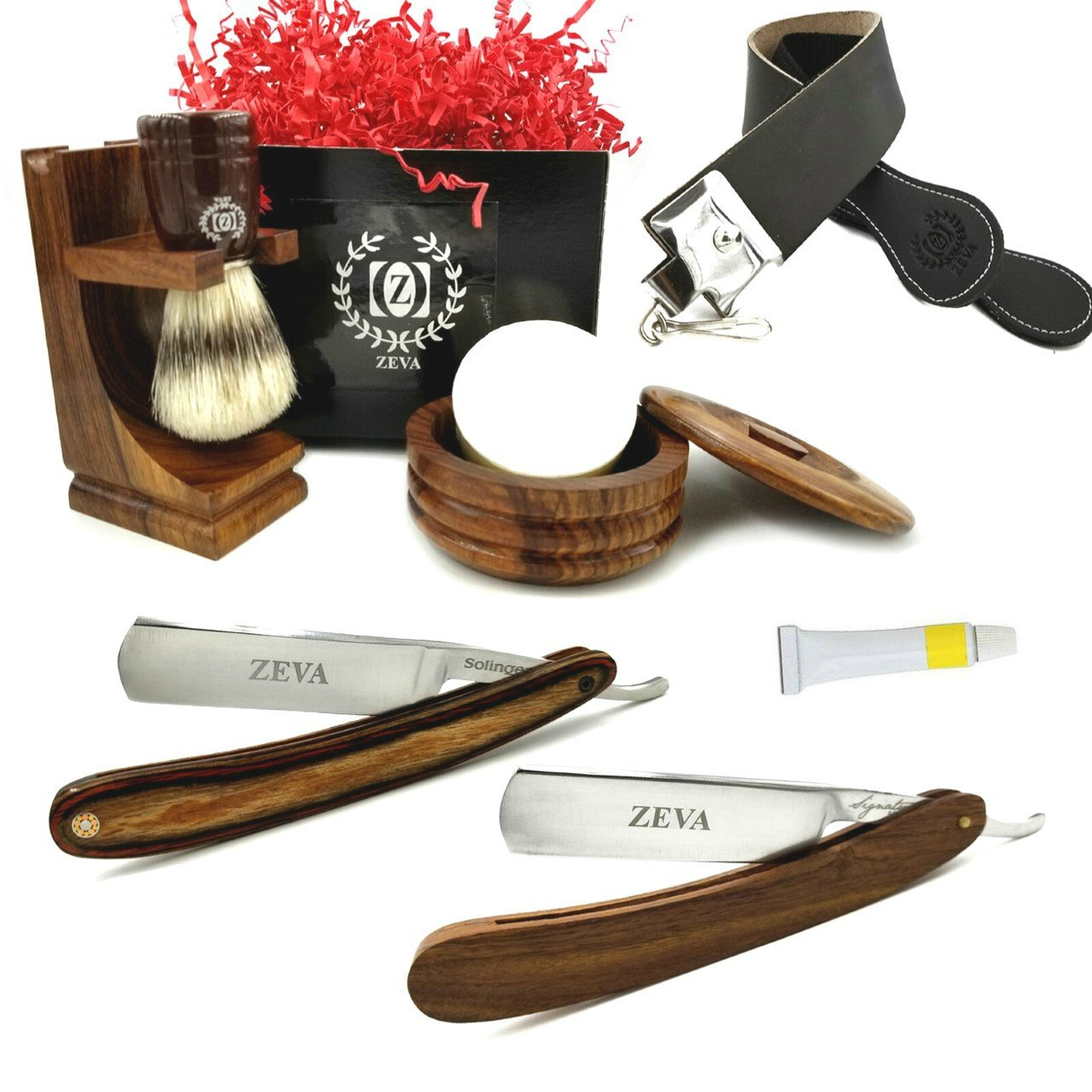 Men's Wood Straight Razor Shaving Set Vintage Wooden Dovo Solingen Paste Shave Ready Straight Razors, Mission Style Wooden Stand for Razors Pure Badger Shaving Brush Mug Soap