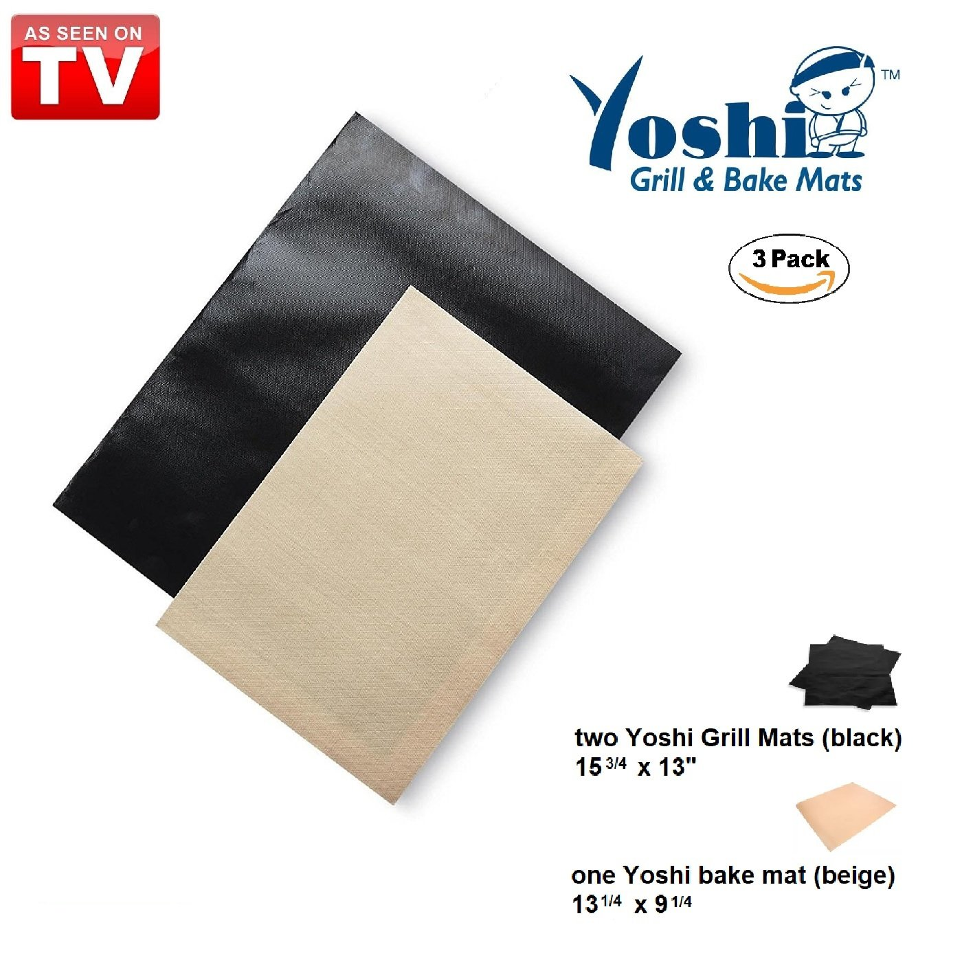 As Seen on TV Yoshi Grill & Bake Mat, 3 Pack | Two (2) Black Grill Mats 15.75