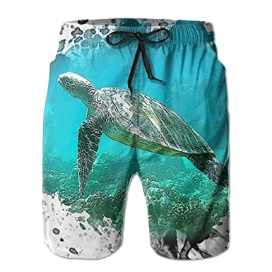 ec13abcd5d Amazon.com: NUNOFOG Sea Turtles Men's Swim Boardshorts Quick-Dry Surf Beach  Shorts Casual Sport Trunks Shorts Beach Pants With Pocket: Clothing