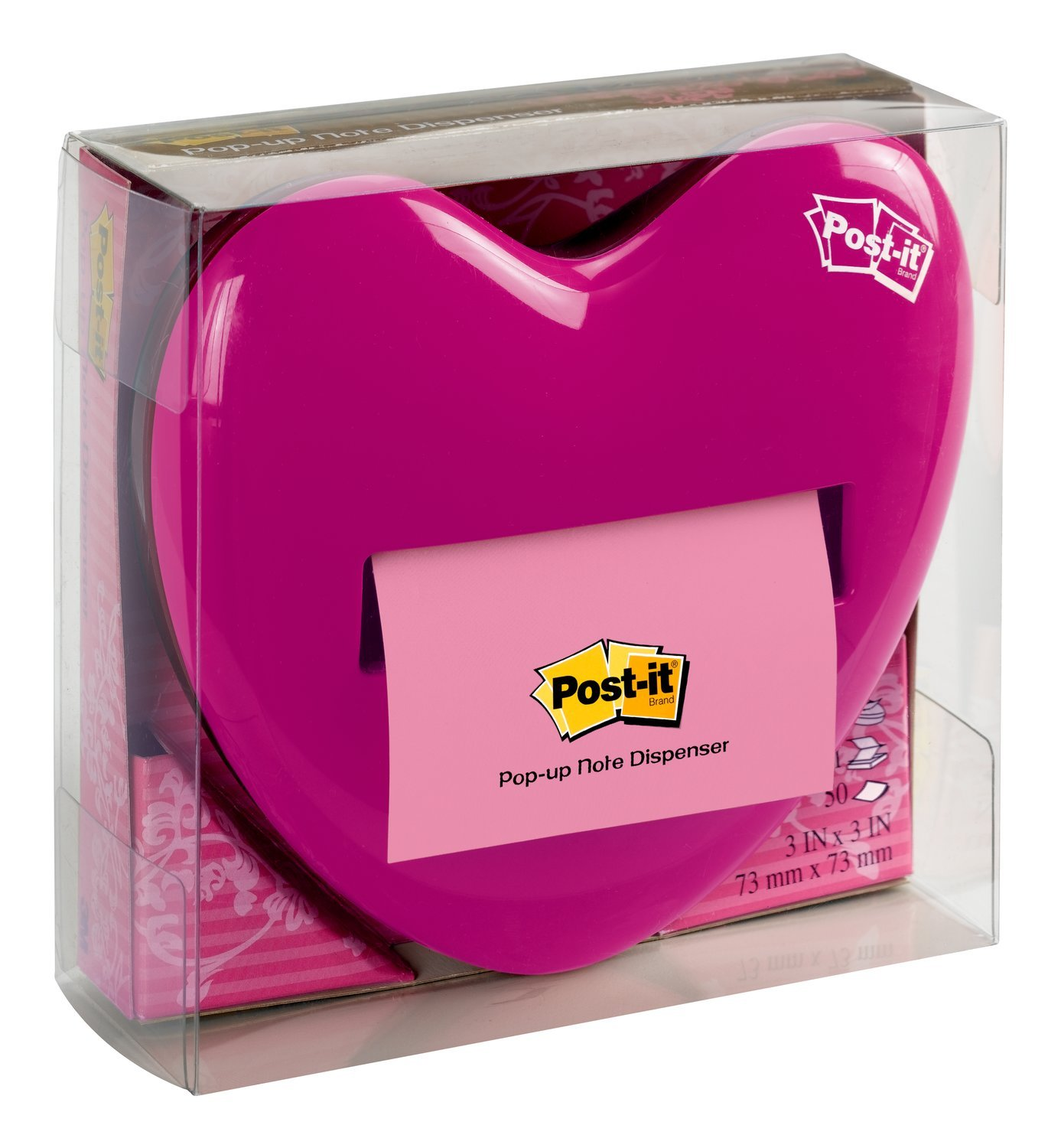 Post-it Pop-up Notes Dispenser for 3 x 3-Inch Notes, Pink, Heart Shape by Post-it