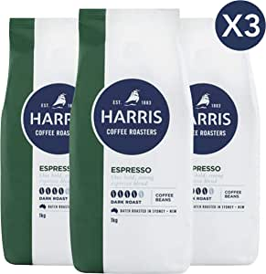 Harris Espresso Whole Coffee Beans - Roasted in Sydney (1kg x 3 Packs)