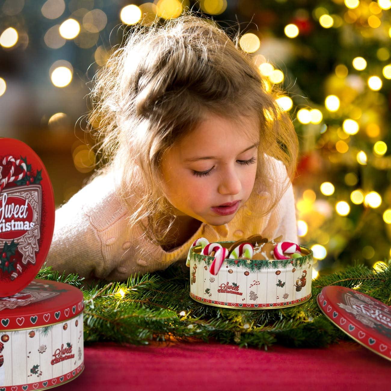 Gwhole Scatola di Latta di Natale Scatole Regalo Caramella Natalizi per Bambini Scatola di Caramelle di immagazzinaggio di Latta di Natale in 3 Diverse Dimensioni