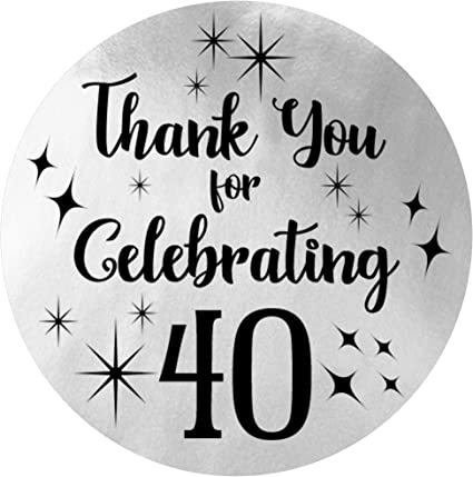 Amazon Com Black And Silver 40th Birthday Thank You Stickers 1 75 In 40 Labels Health Personal Care
