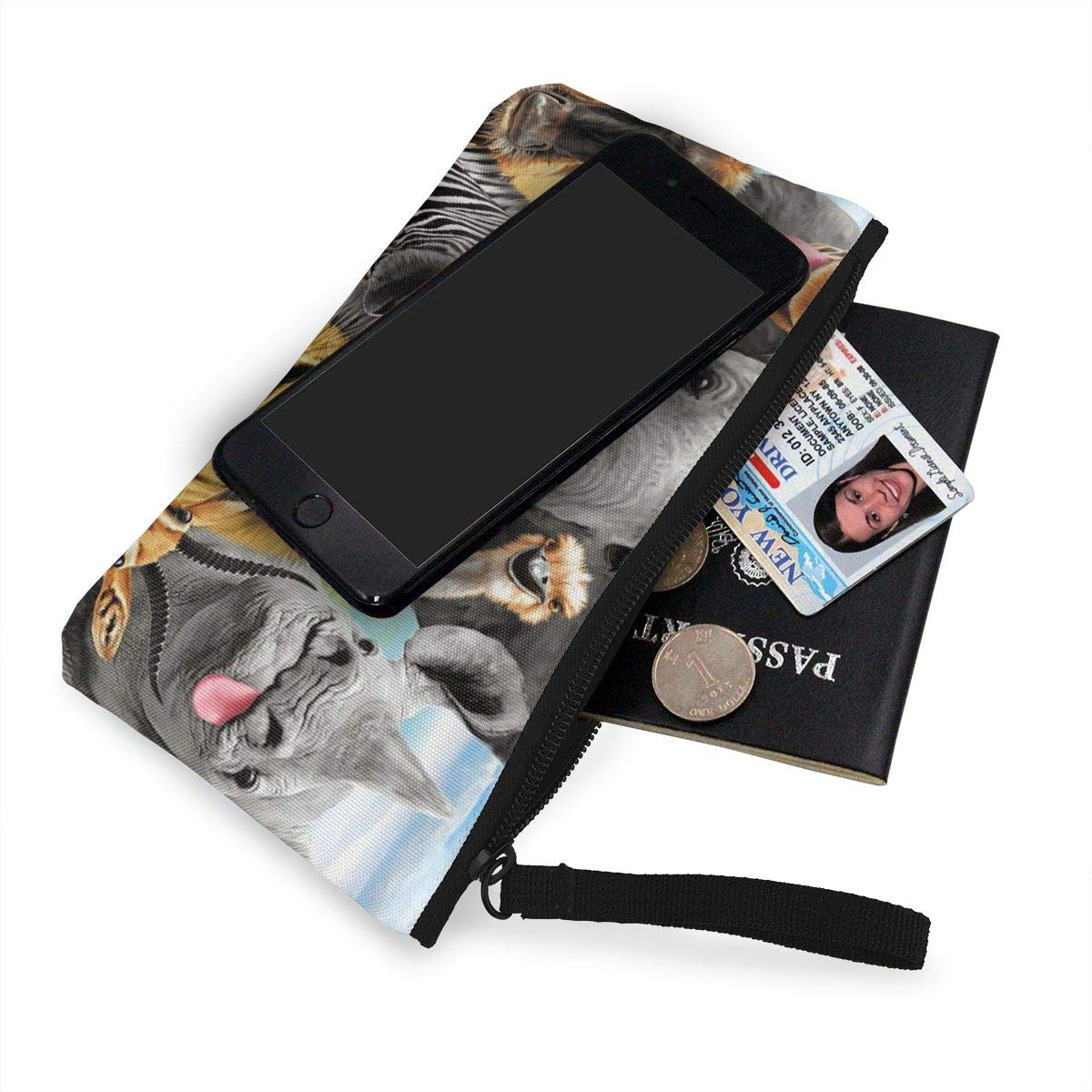 Safari Animals Womens Canvas Coin Purse Mini Change Wallet Pouch-Card Holder Phone Wallet Storage Bag,Pencil Pen Case