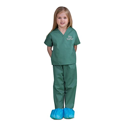 316670c0374 Scoots Kids Scrubs for Girls, Big Sister Embroidery, 2T, Medical Green