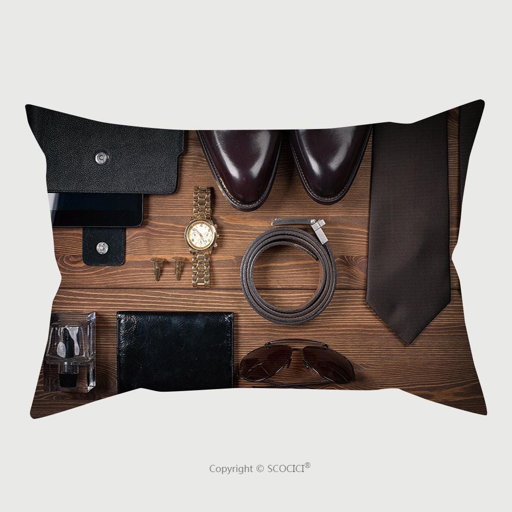 Custom Satin Pillowcase Protector Wood Texture Men S Everyday Objects On A Dark Background Business Meeting Accessories For The 335423939 Pillow Case Covers Decorative