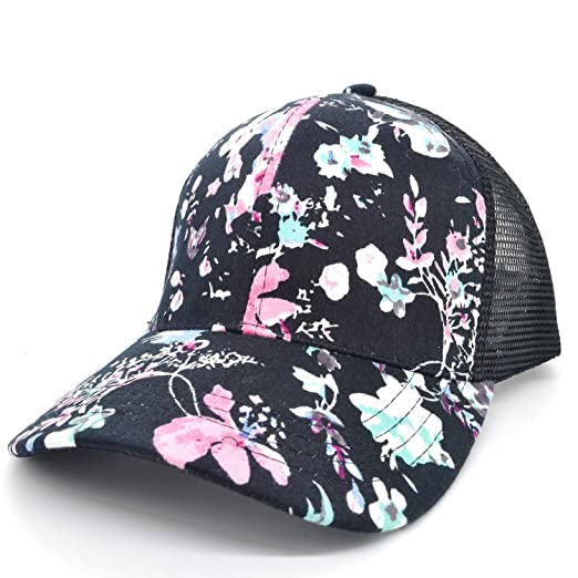 569619756 PT FASHIONS Floral Print Mesh Baseball Cap Adjustable Snapback Trucker Hat