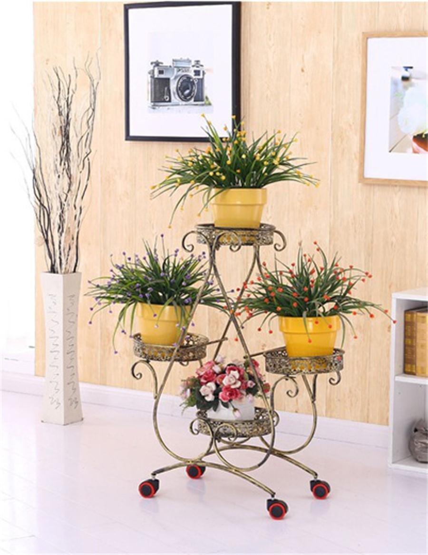 Europäische - Stil Eisen Blumenregale Riemenscheibe Boden - Typ Blumentöpfe Rahmen Wohnzimmer Balkon Blumenregale ( farbe : Bronze )