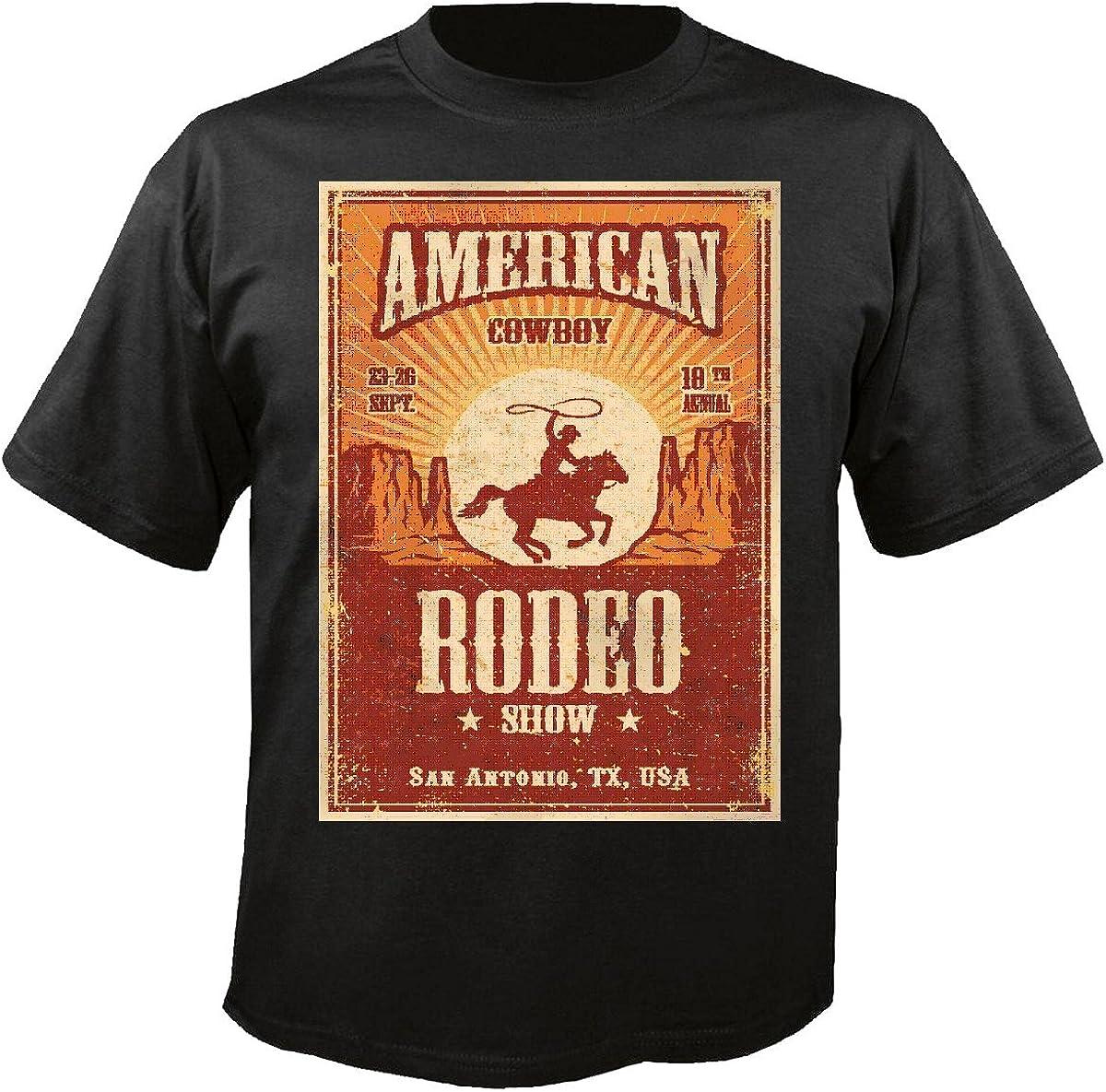 T-Shirt Camiseta Remera Cowboy de Rodeo EQUITACIÓN Concurso Ecuestre Jinete del Caballo del Dressage Cabeza del Vaquero Riding Rodeo Salto del Caballo Semental del Potro in Negro: Amazon.es: Ropa y accesorios