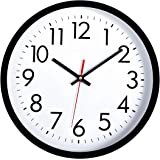 Lumuasky Black Wall Clock, Silent Non-Ticking 12 Inch Quality Quartz Battery Operated Round Easy to Read Decorative for Home