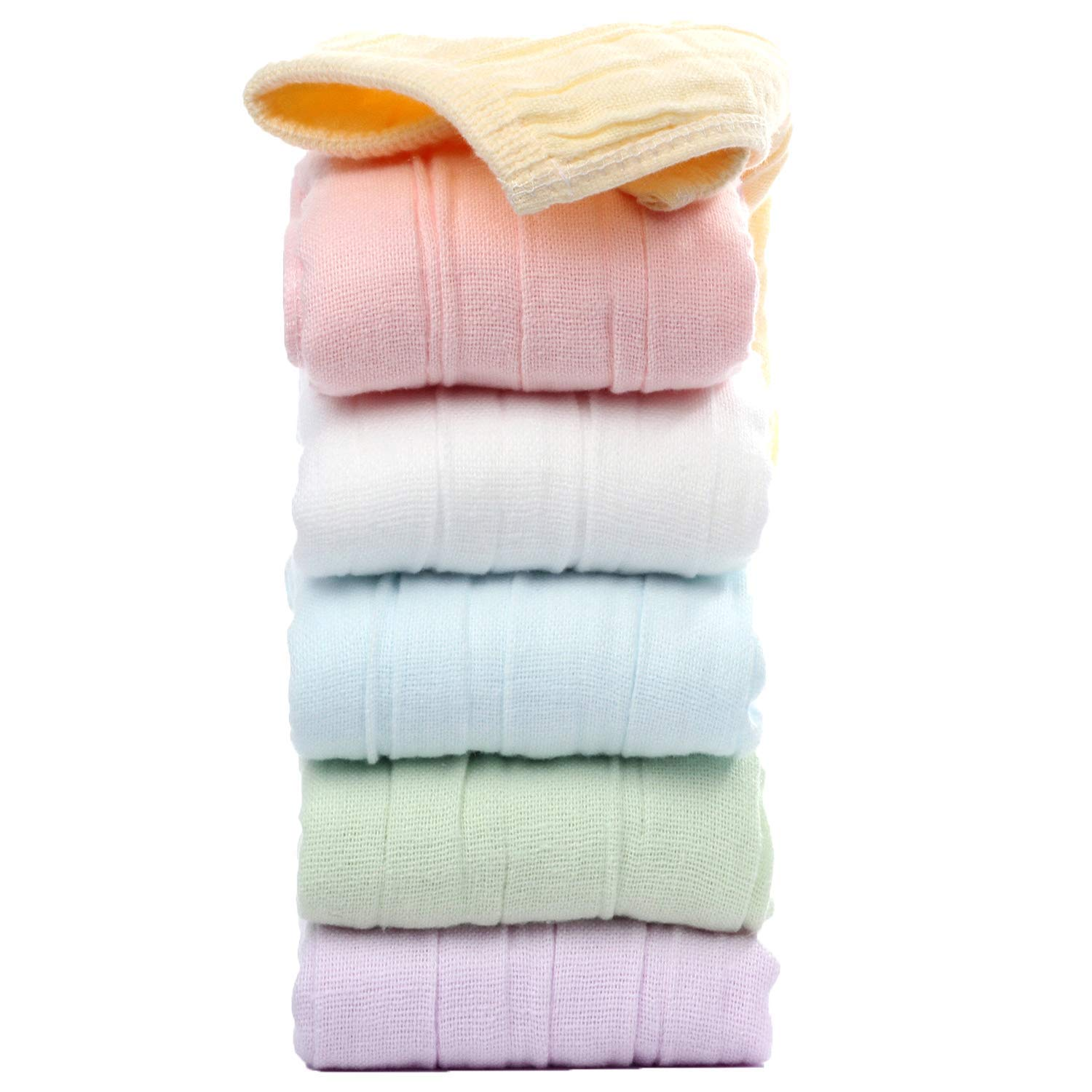 Baby Muslin Washcloths and Towels - Bamboo Cotton Baby Wipes Soft Face Cleaning Bath Wash Cloths for Newborn Kids Baby Boy/Girl and Sensitive Skin Baby Shower Gift  10''x10'' Flexible Large 6 Pack by HappyBear