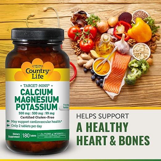 País vida objetivo min Calcio Magnesio Potasio 500 mg/500mg/99mg 180-tablet: Amazon.es: Salud y cuidado personal