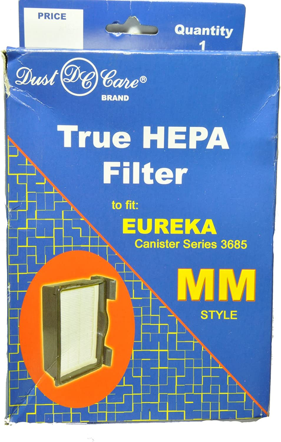 Dust Care Eureka Canister Style MM True Hepa Filter, Replacement Brand, Designed to fit Eureka Canister Series 3685 Using HF8 Style MM Hepa Filters