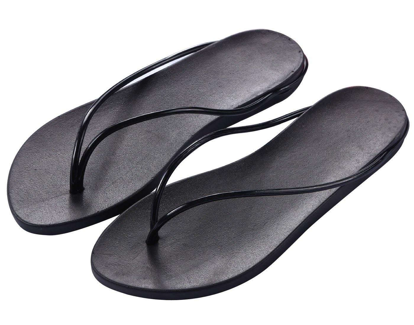Zehentrenner Damen Slim Sandalen Schuhe Flats Thong Sandalen Sommer Schuhe Strand Flip Flop Hausschuhe  37 EU|Schwarz