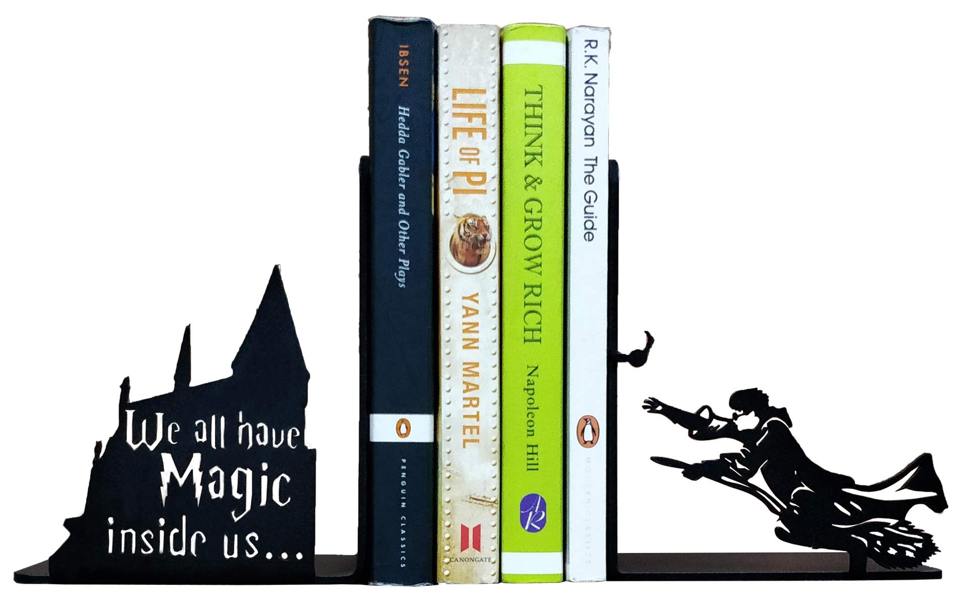HeavenlyKraft Decorative Metal Bookend, Office Décor/Non Skid Book End, Book Stopper for Home/Office Decor/Shelves, Children Room Décor, 5.9 X 3.9 X 3.14 Inch Per Piece (Weight 2.5 Pound/Pair)
