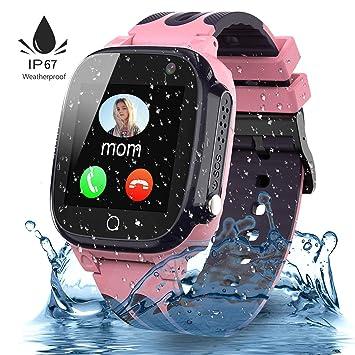 Jslai Smartwatch Niños Impermeable,Reloj Inteligente para Niños,LBS Localizador Reloj del Teléfono,Kids Smartwatch Phone con Call SOS Cámara para Niño ...