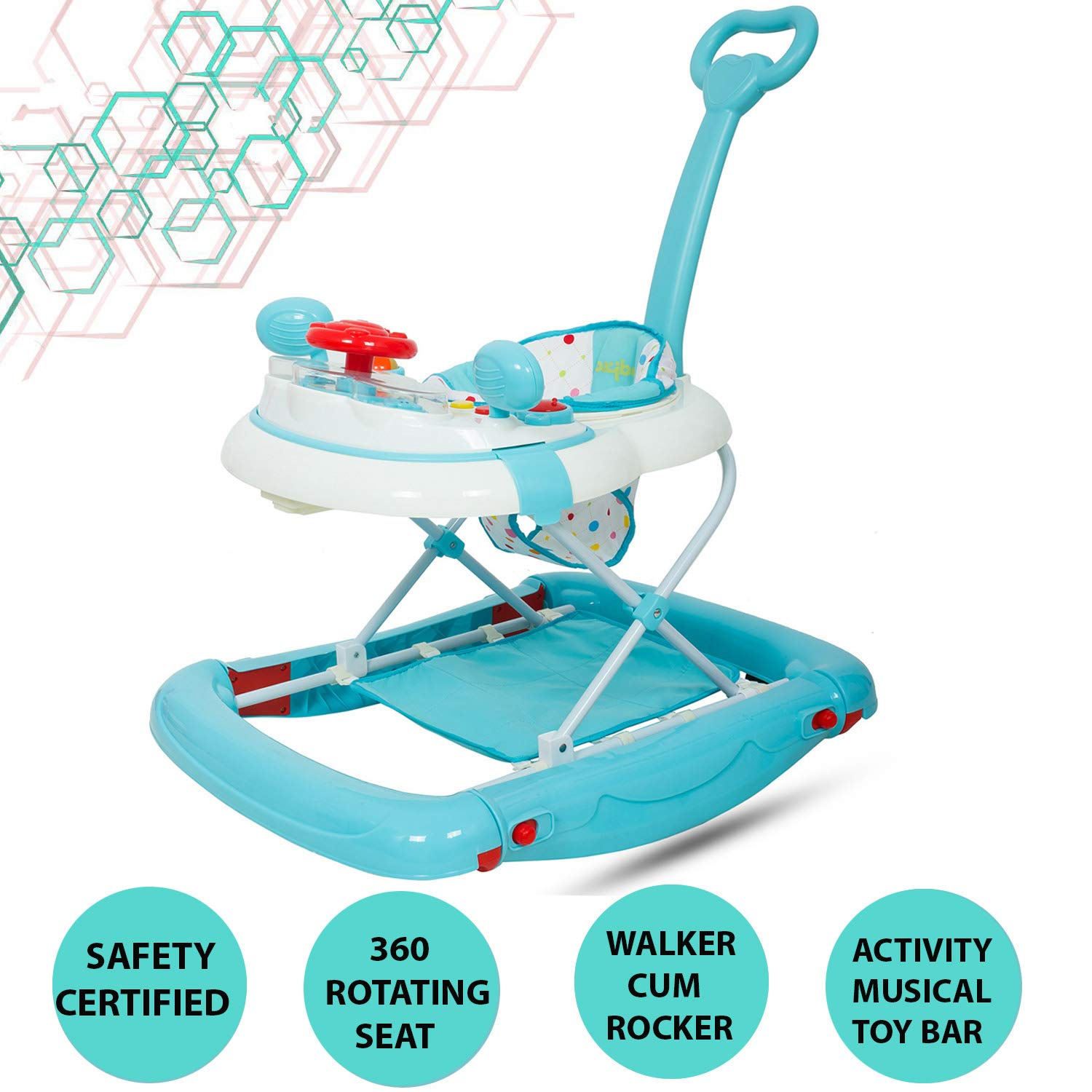 Baybee Enforcer Baby Walker Cum Rocker | Music & Light Function with Adjustable Height and Push Handle Bar - Blue