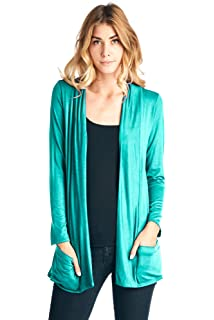 12 Ami Basic Long Sleeve Open Front Pocket Cardigan (S-2X) - Made